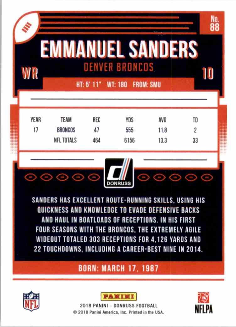 2018 Donruss Emmanuel Sanders #88 card back image