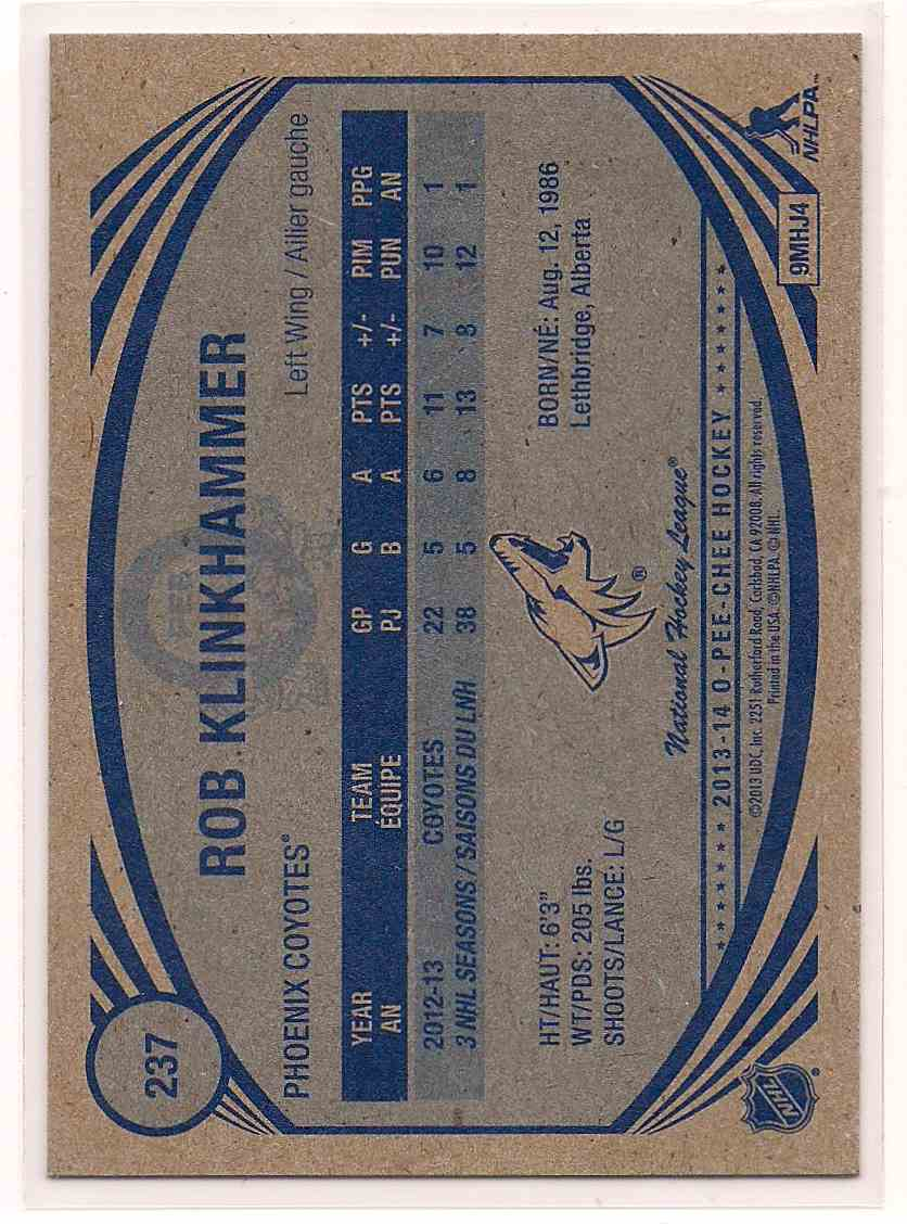 2013-14 O-Pee-Chee Retro Rob Klinkhammer #237 card back image