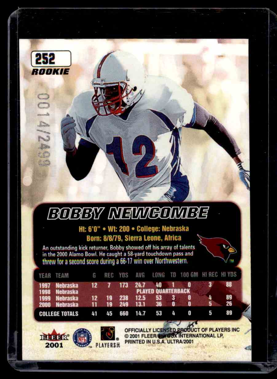 2001 Ultra Bobby Newcombe #252 card back image