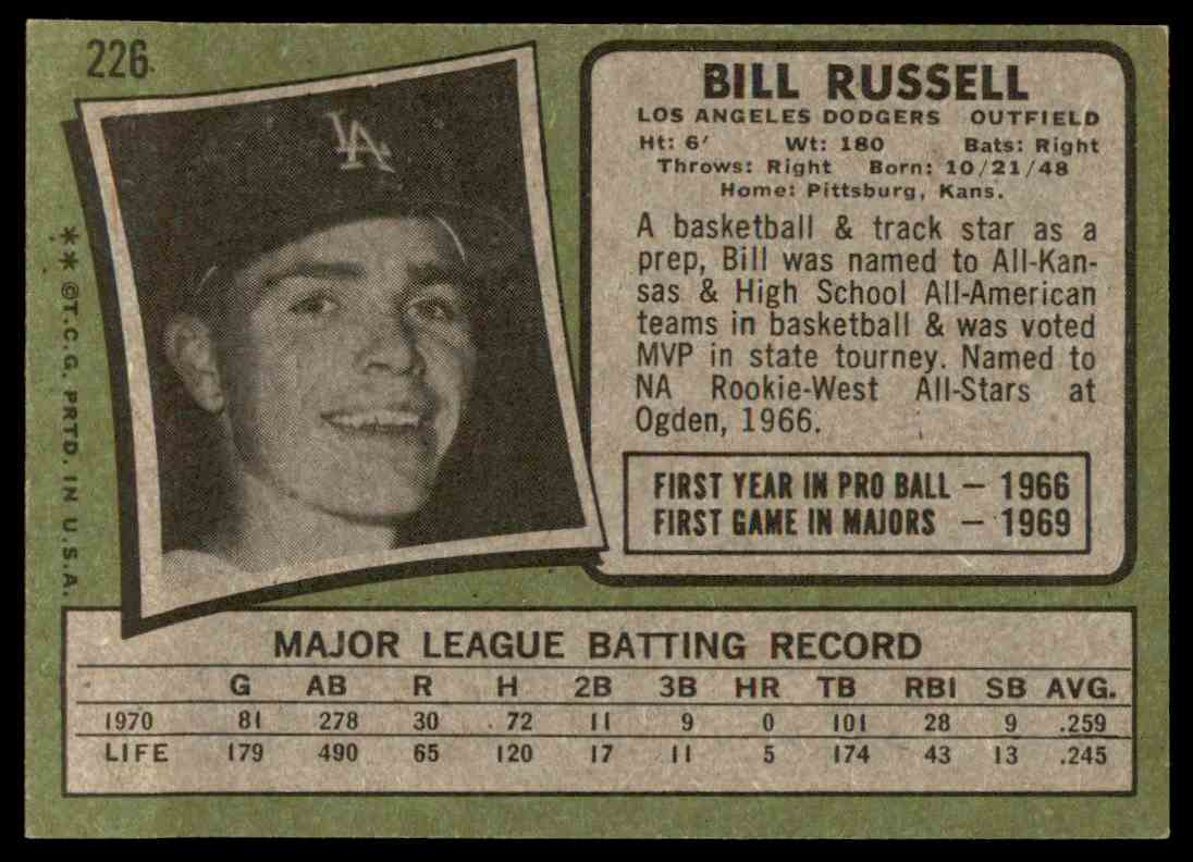 1971 Topps Set Break Bill Russell 226 On Kronozio