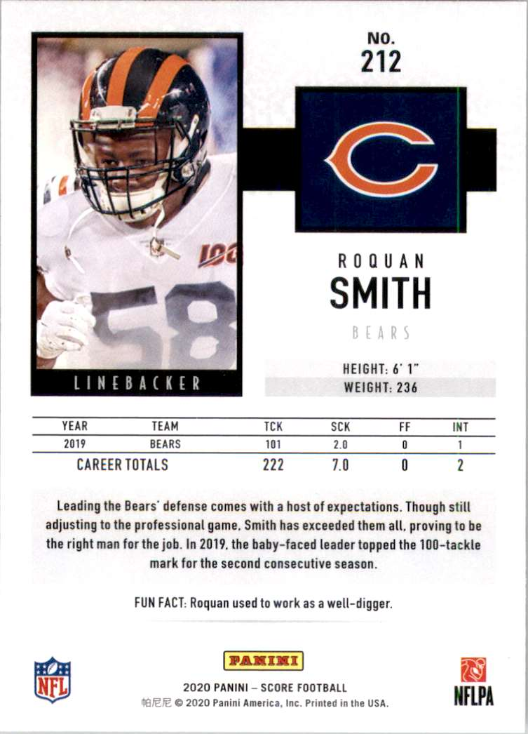 2020 Score Roquan Smith #212 card back image