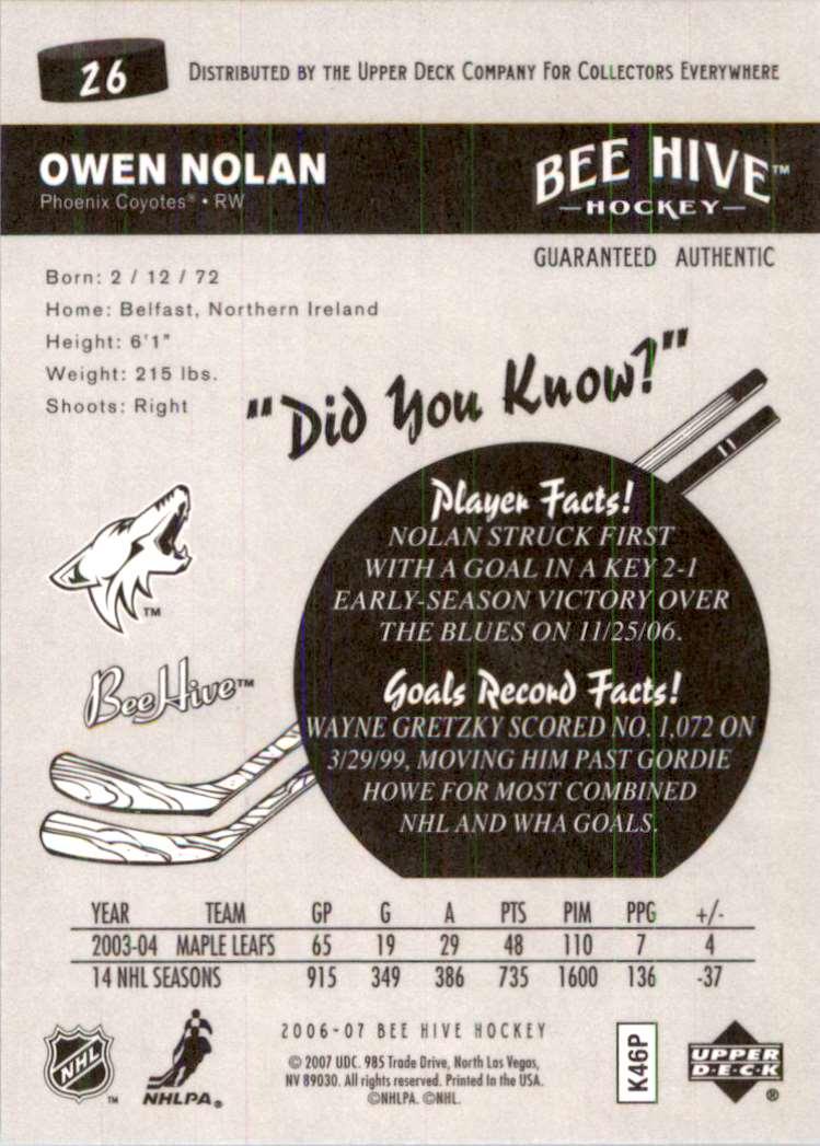 2006-07 Upper Deck Beehive Owen Nolan #26 card back image
