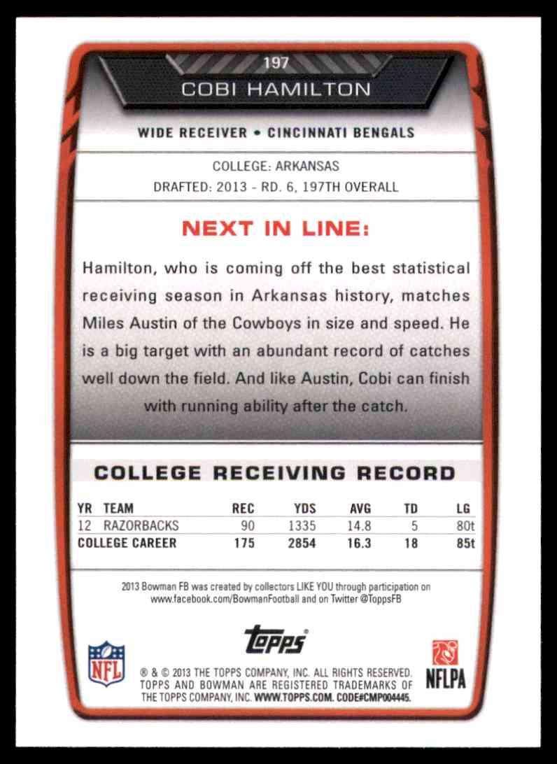 2013 Bowman Cobi Hamilton RC #197 card back image