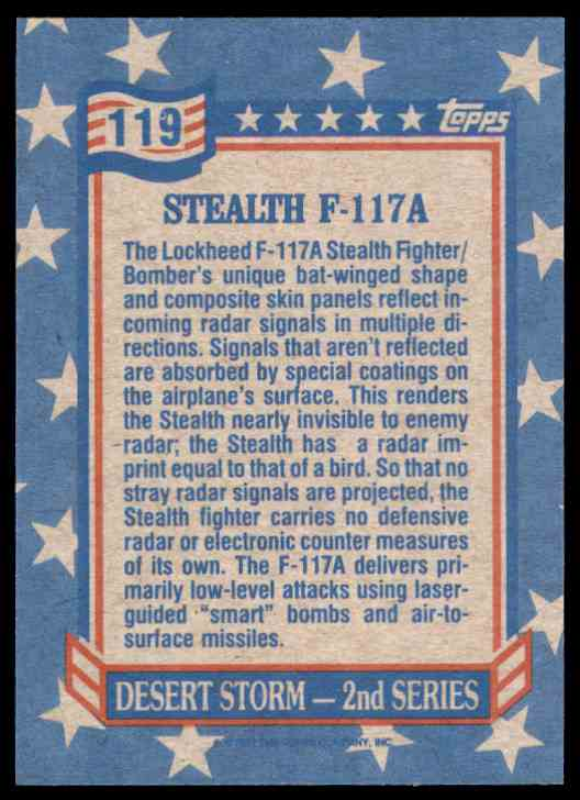1991 Desert Storm Topps Stealth-F117a #119 card back image