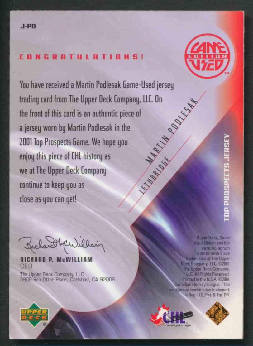 2001-02 Upper Deck CHL Prospects Martin Poolesak #J-PO card back image