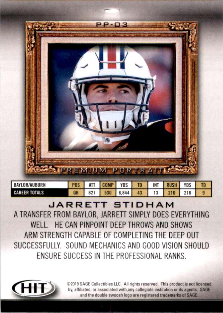 2019 Sage Hit Premium Portraits Jarrett Stidham #PP3 card back image