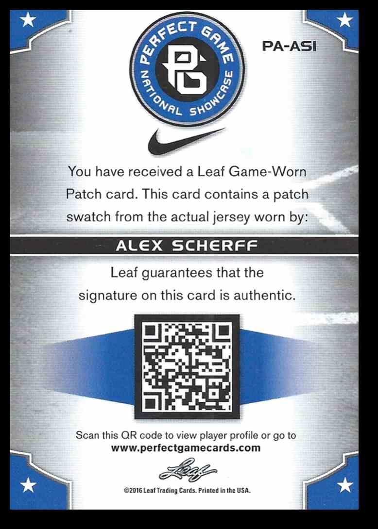 2016 Leaf Perfect Game Swatch Alex Scherff #PA-ASI card back image
