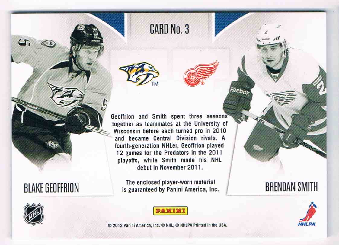 2011-12 Panini Rookie Anthlogy Rookie Rivalry Dual Jerseys Blake Geoffrion Brendan Smith #3 card back image