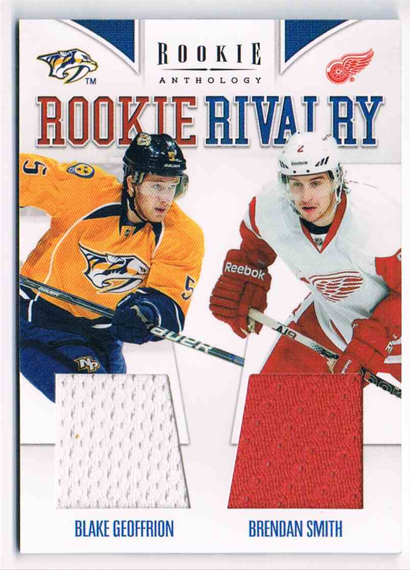 2011-12 Panini Rookie Anthlogy Rookie Rivalry Dual Jerseys Blake Geoffrion Brendan Smith #3 card front image