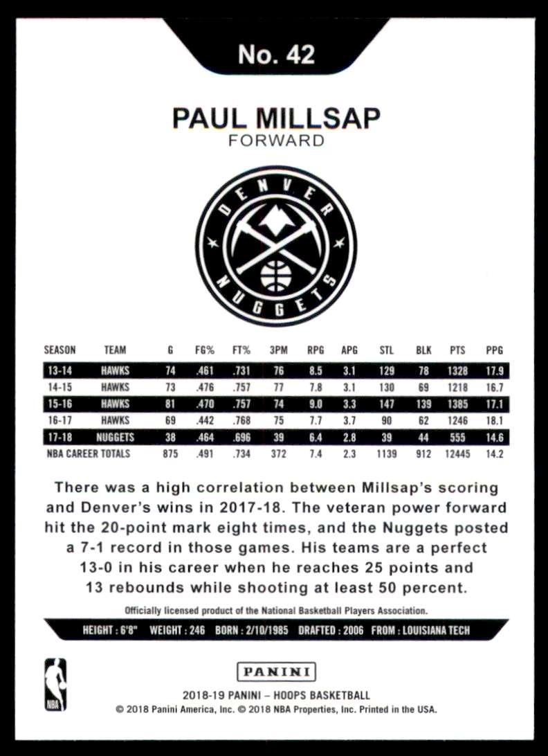 2018-19 Hoops Paul Millsap #42 card back image