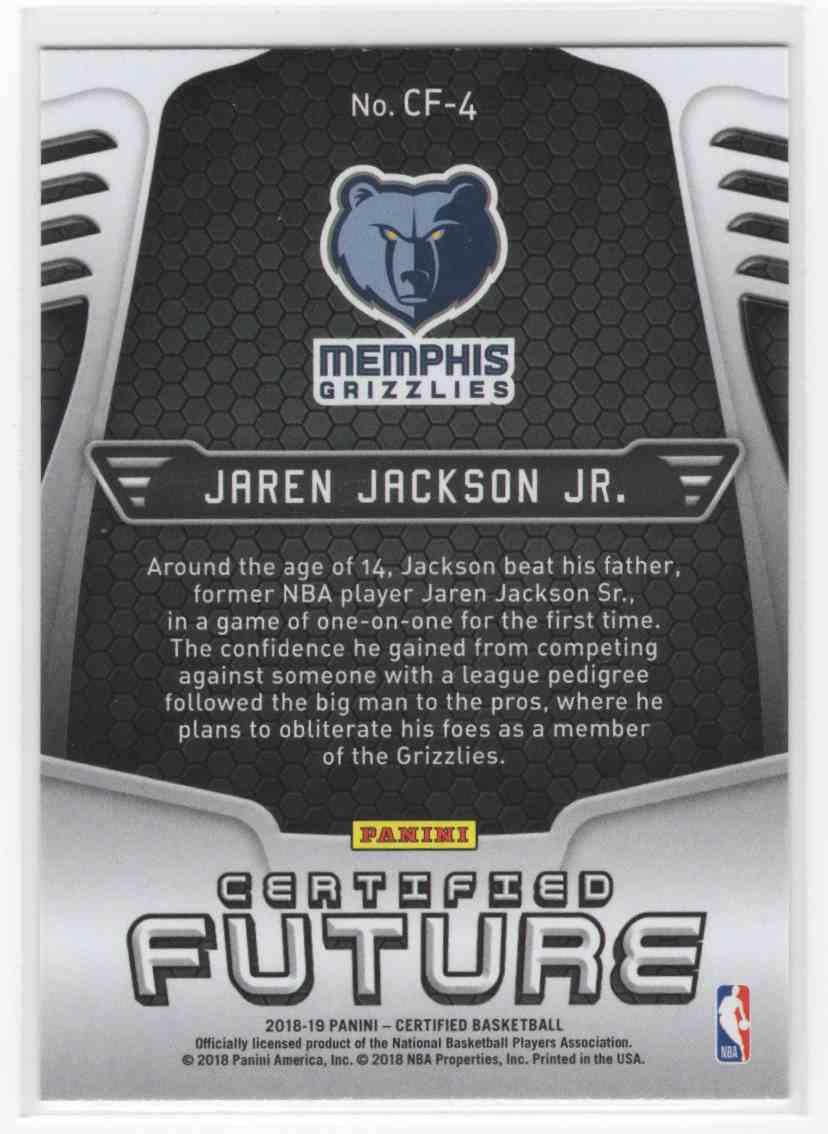2018-19 Panini Certified Jaren Jackson JR. #CF-4 card back image
