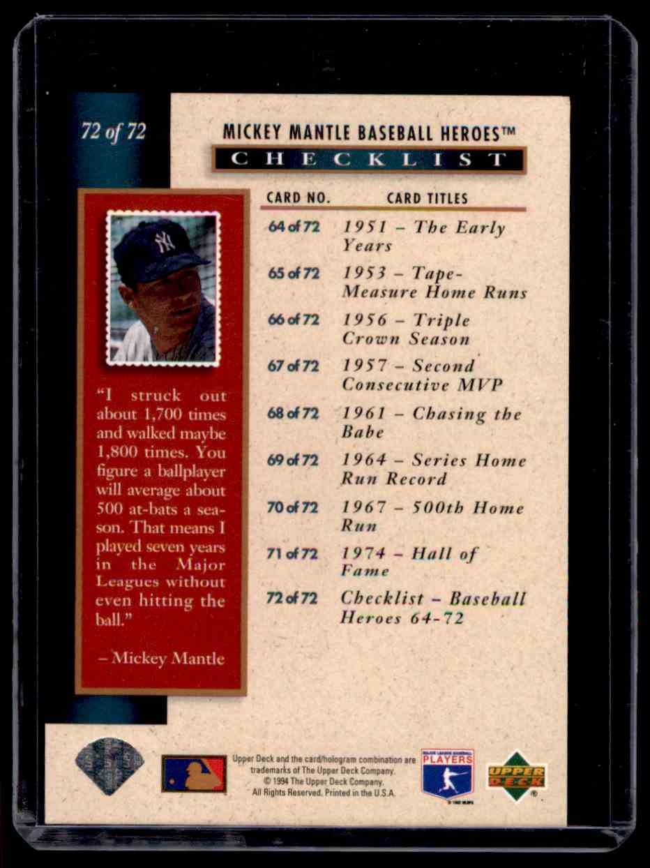 1994 Upper Deck Mantle Heroes Mickey Mantle #72 card back image