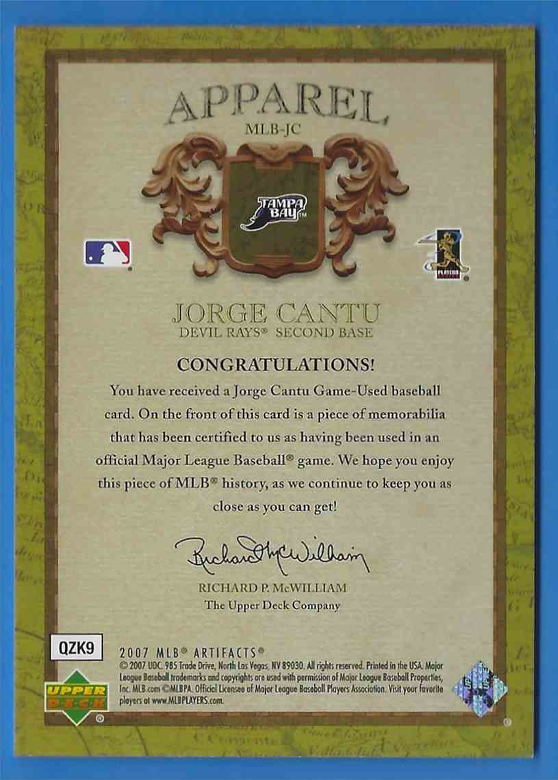 2007 Artifacts MLB Apparel Limited Jorge Cantu #MLBJC card back image