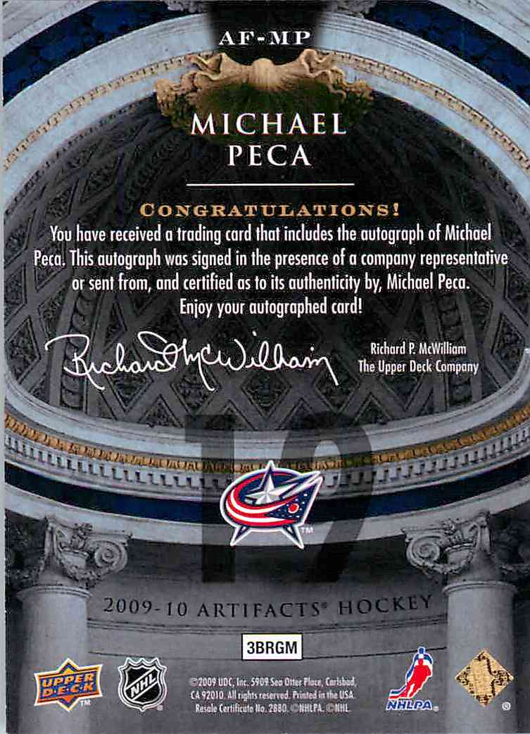 2009-10 Upper Deck Artifacts Michael Peca #AF-MP card back image
