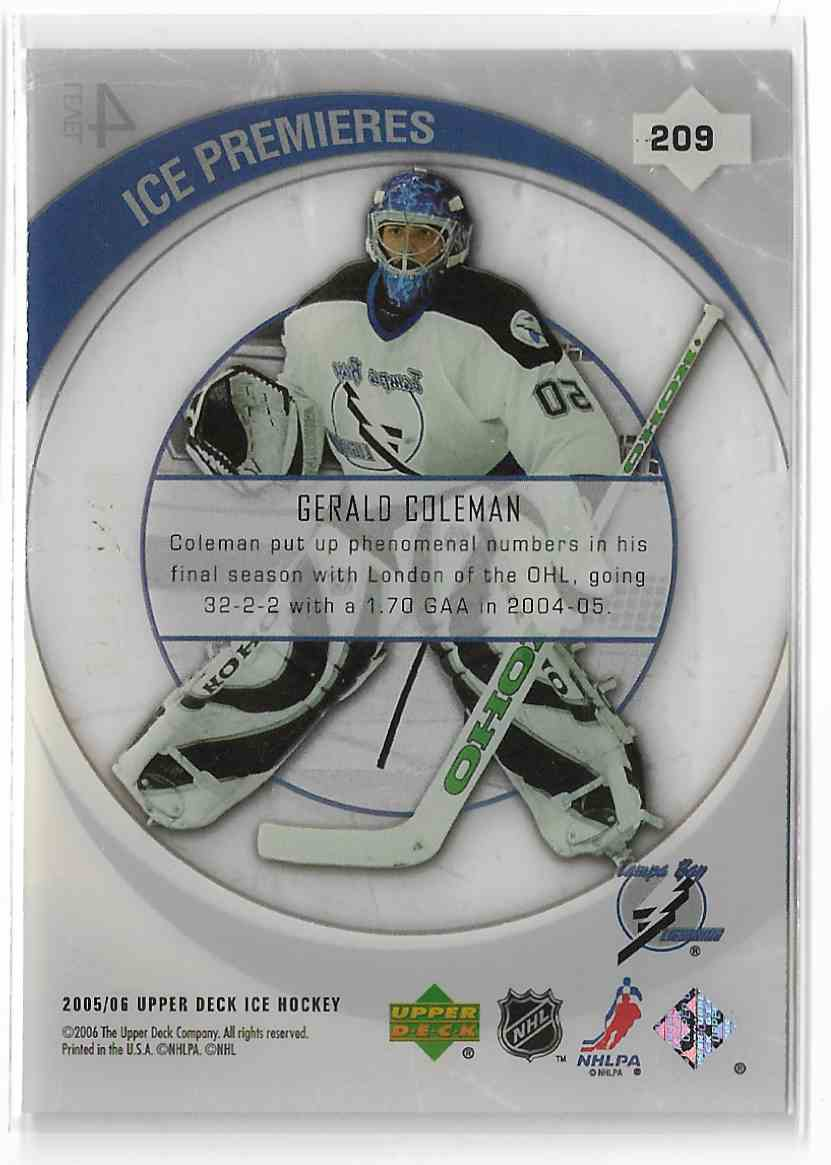 2005-06 Upper Deck Ice Gerald Coleman #209 card back image