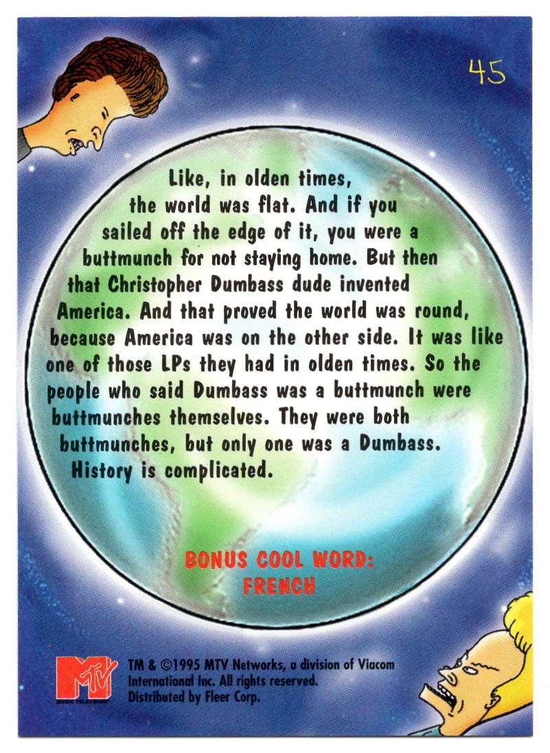 1995 Ultra Mtv Animation Christopher Dumbass #45 card back image