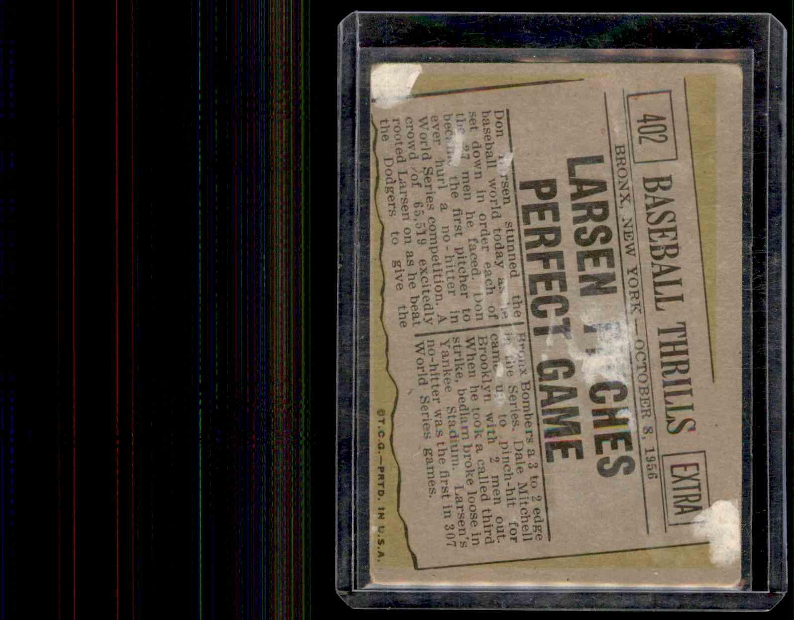 1961 Topps Don Larsen #402 card back image
