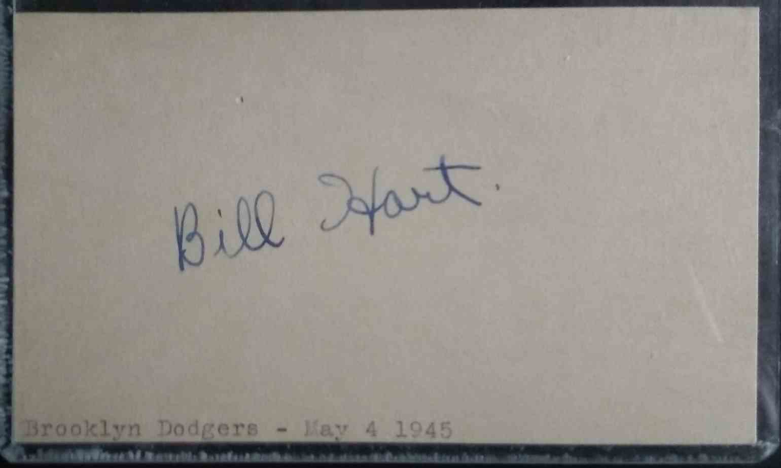 1943 3X5 Bill Hart card back image