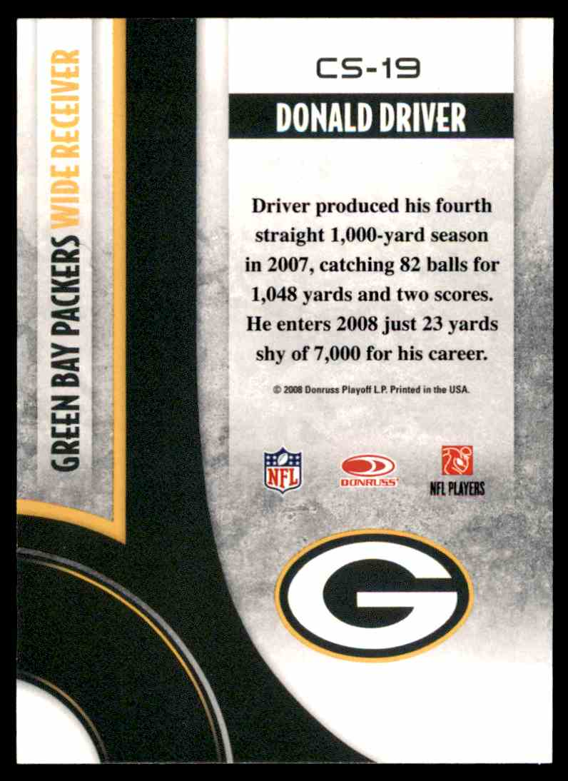 2008 Donruss Threads Century Stars Donald Driver #CS-19 card back image
