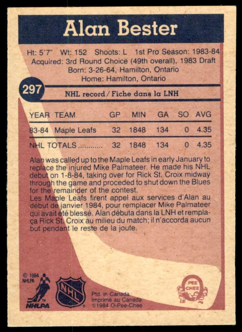 1984-85 OPC Alan Bester #297 card back image