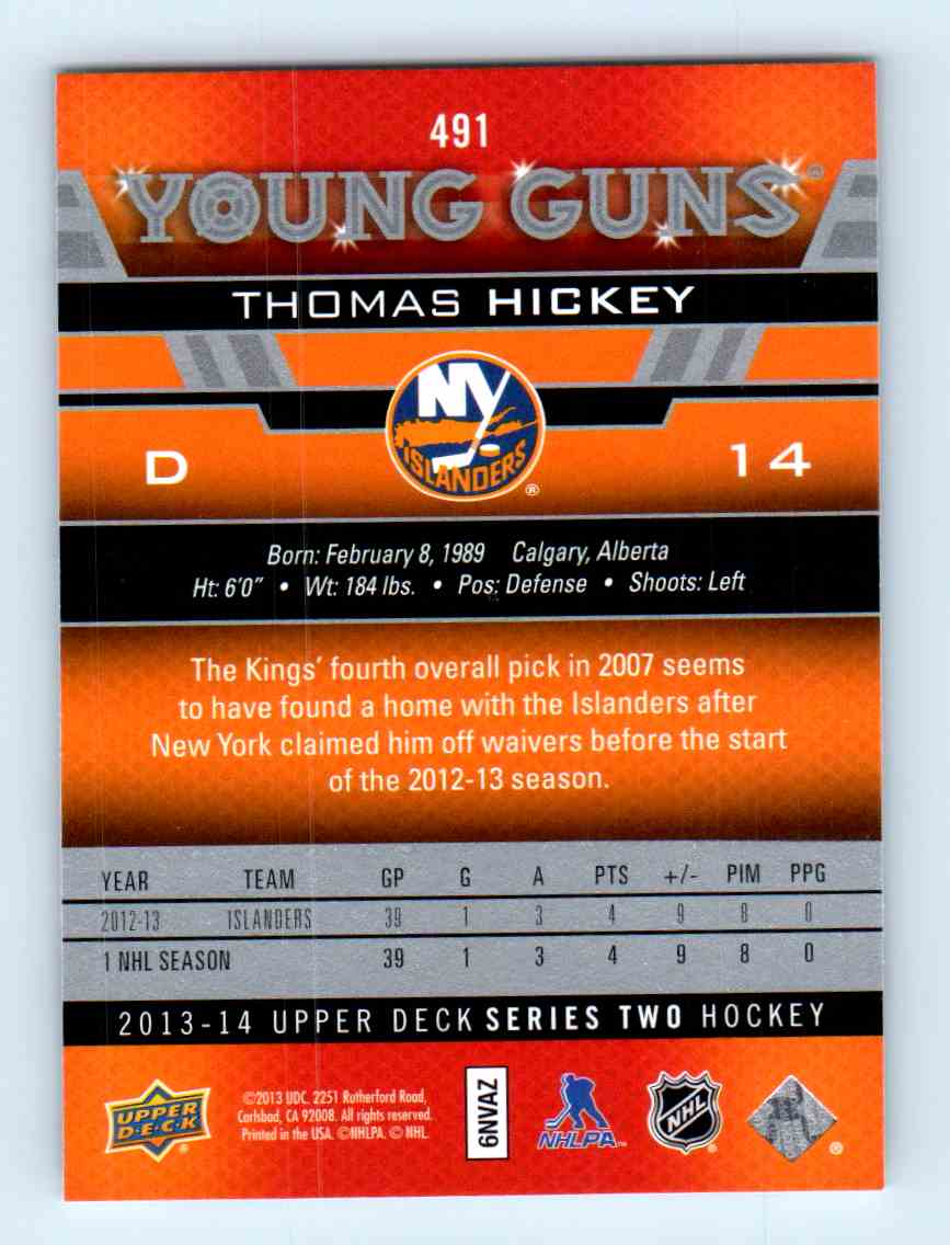 2013-14 Upper Deck Young Guns Thomas Hickey #491 card back image