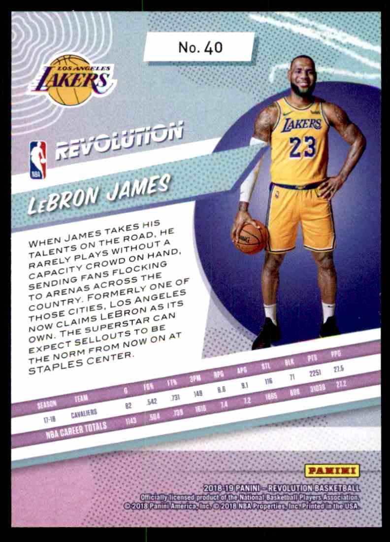 2018-19 Panini Revolution Base Lebron James #40 card back image