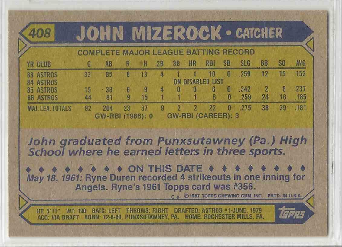 1987 Topps John Mizerock #408 on Kronozio