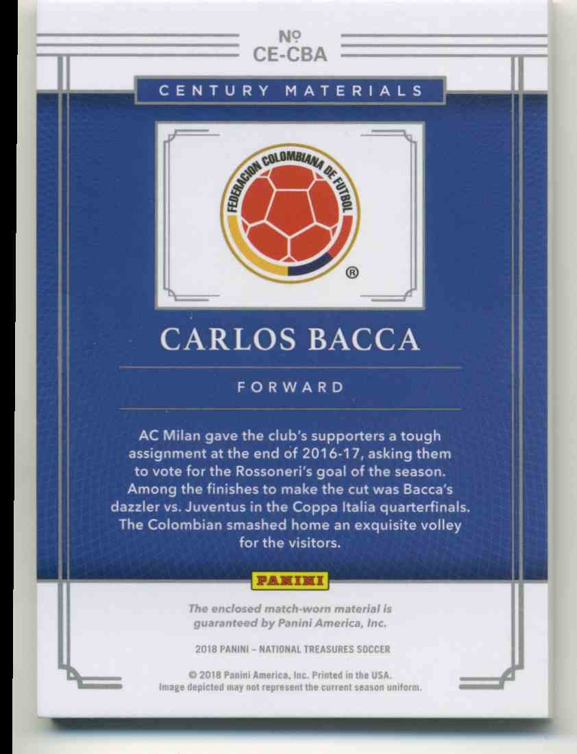 2018 Panini National Treasures Century Materials Carlos Bacca #CE-CBA card back image
