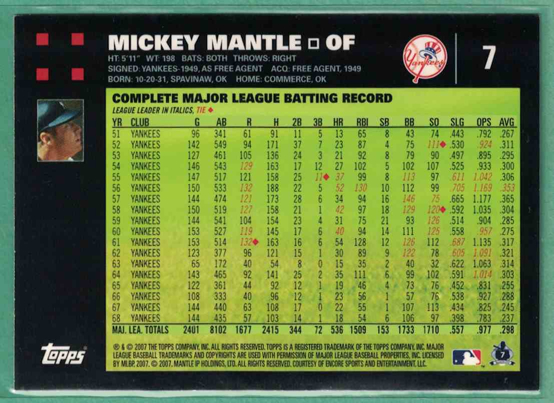 2007 Topps Mickey Mantle #7 card back image