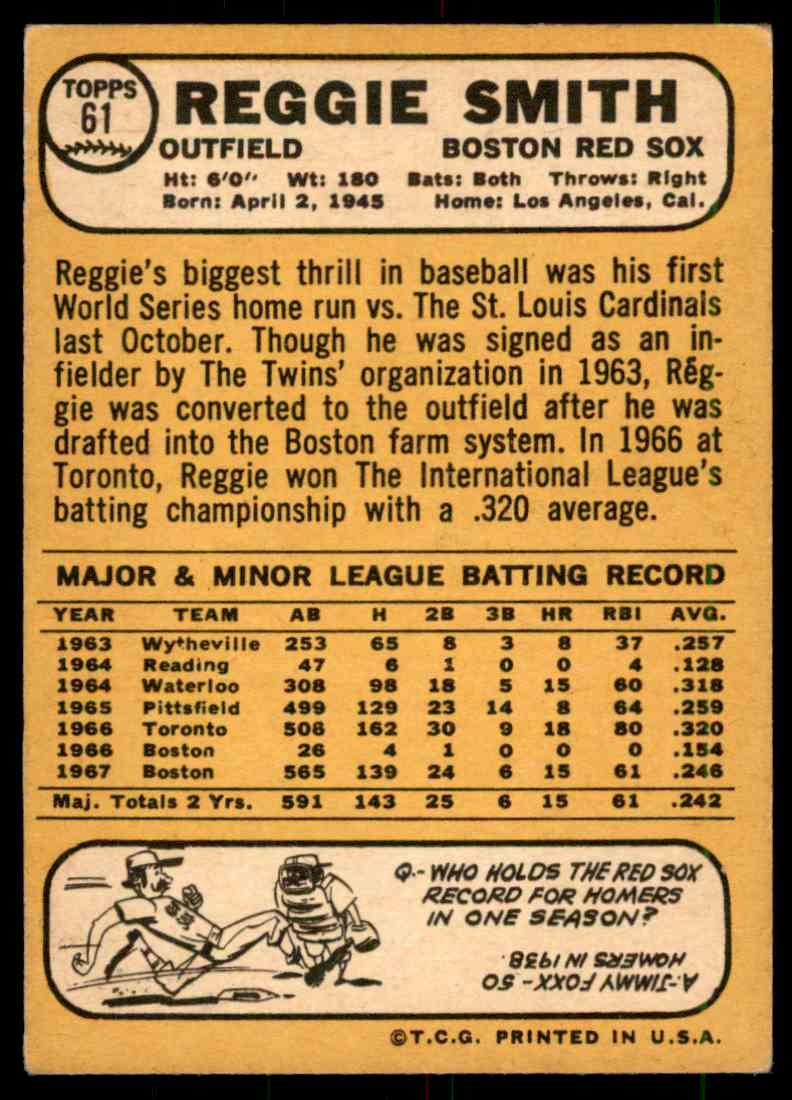 1968 Topps Reggie Smith #61 card back image