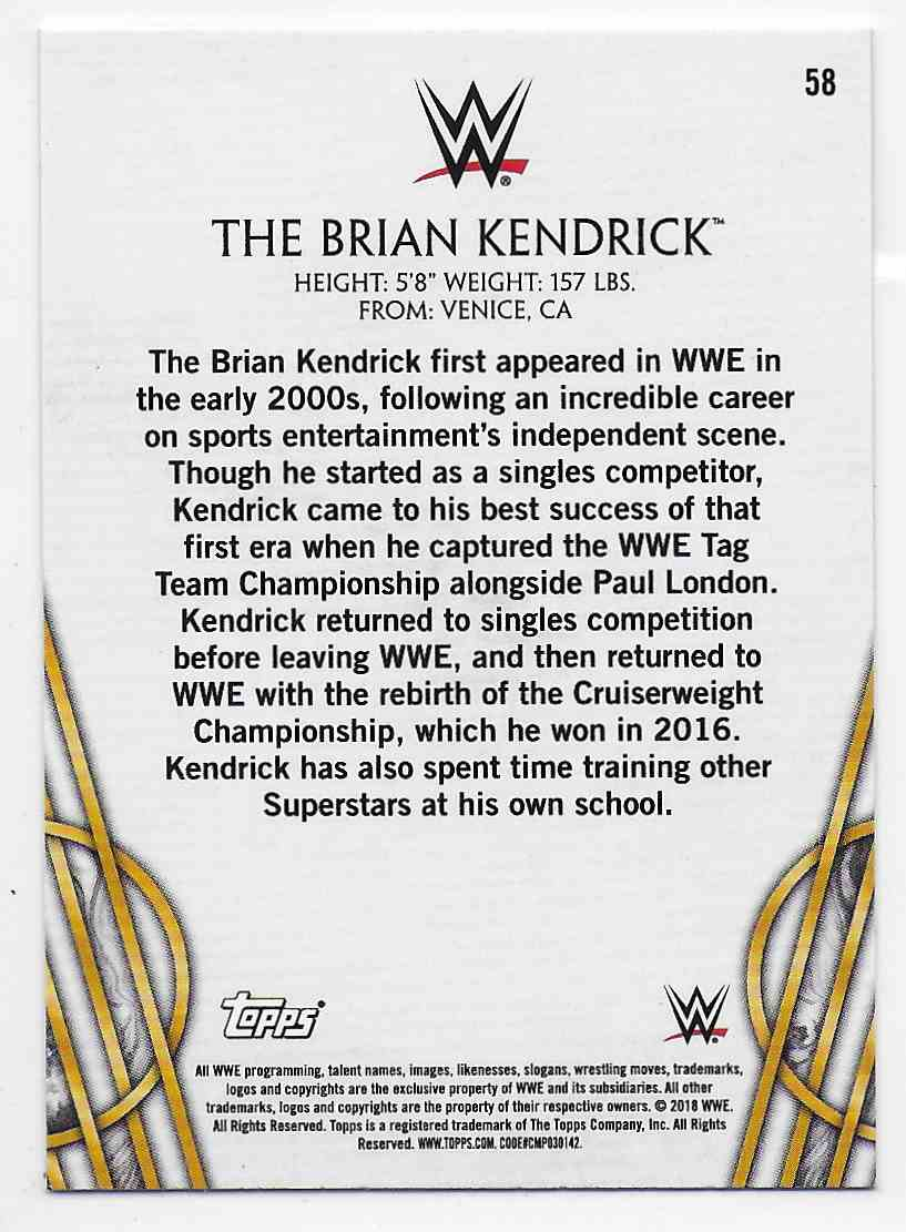 2018 Legends Of Wwe Bronze The Brian Kendrick #58 card back image