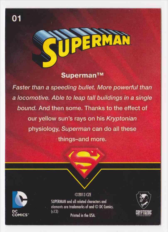 2013 Superman Cryptozoic Superman #1 card back image