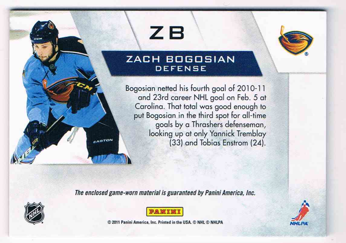2010-11 Zenith Winter Warriors Zach Bogosian #ZB card back image