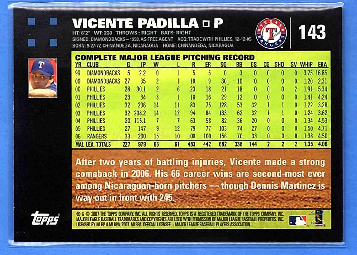 2007 Topps Vicente Padilla #143 card back image