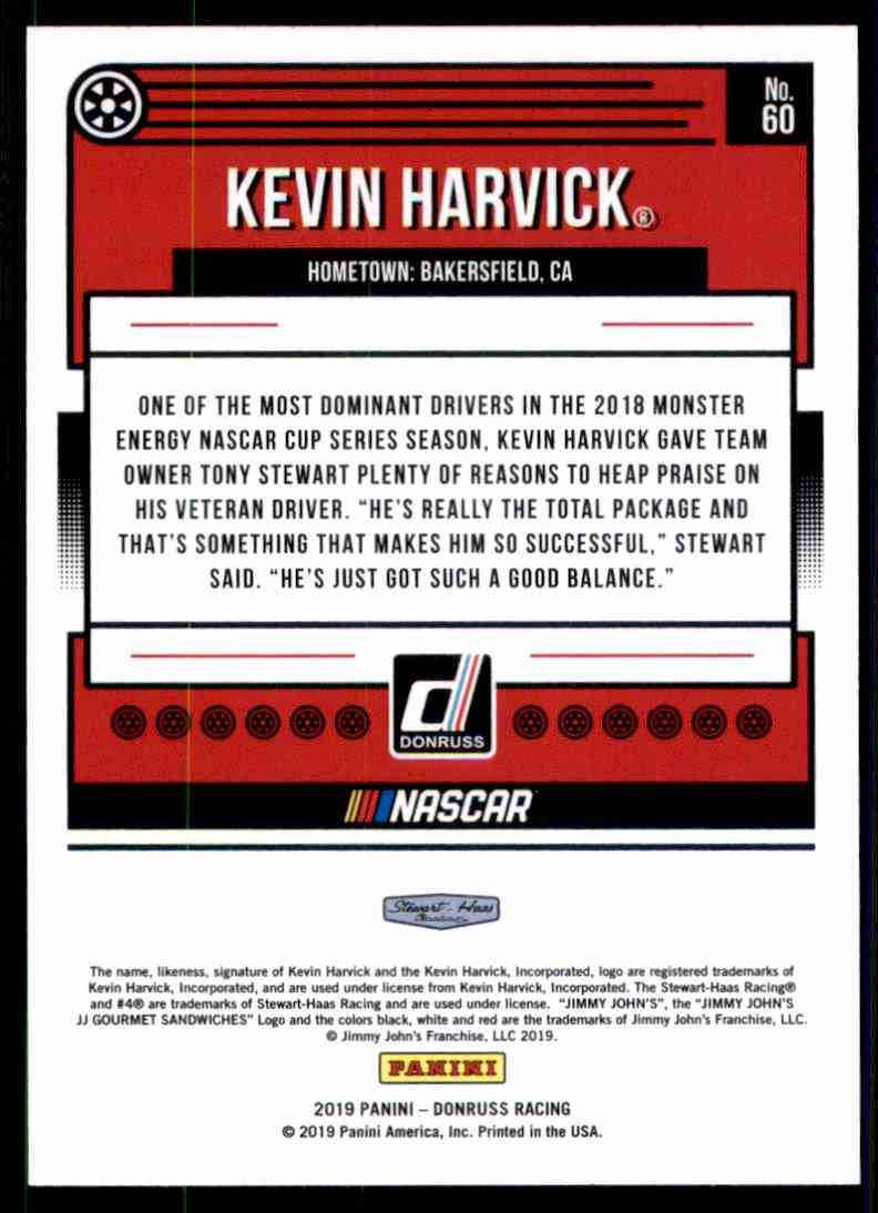 2019 Donruss Kevin Harvick #60 card back image