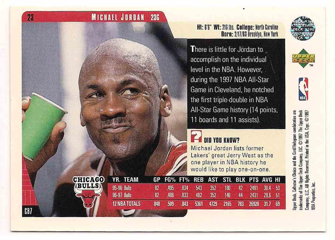 1997-98 Upper Deck Collectors Choice Michael Jordan #CB7 card back image