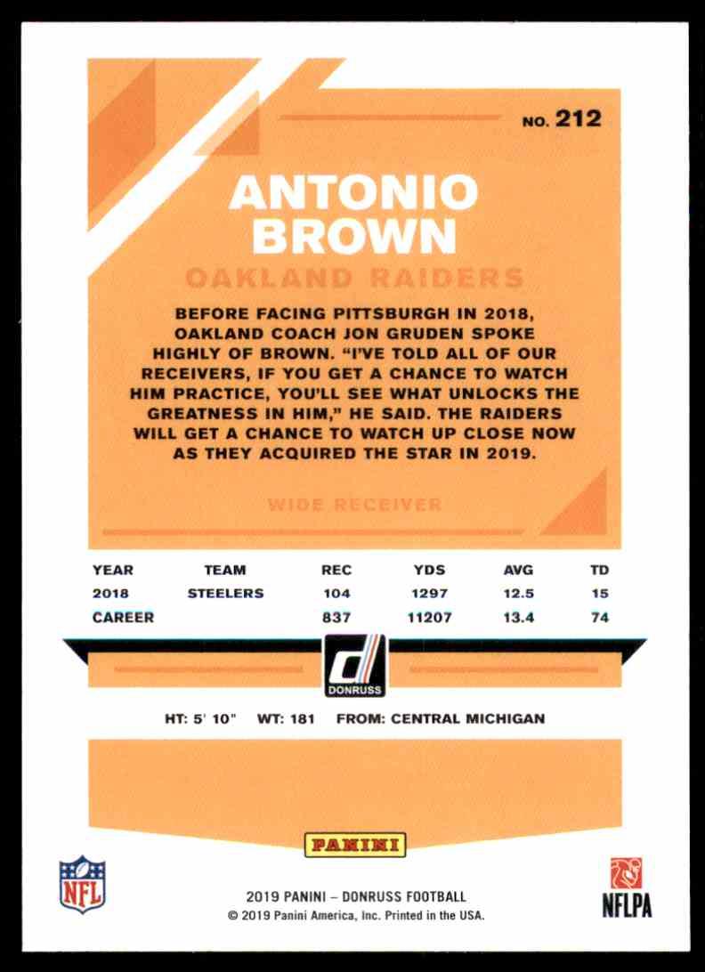 2019 Donruss Antonio Brown #212 card back image