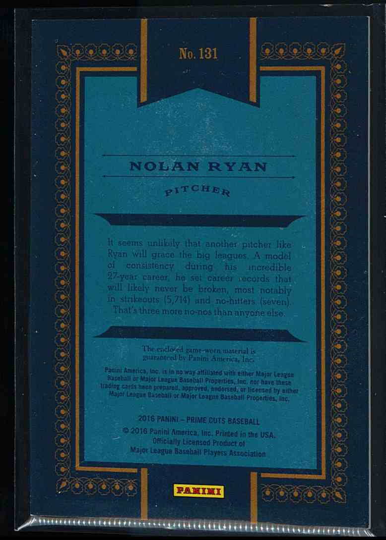 2016 Panini Prime Cuts Nolan Ryan #131 card back image