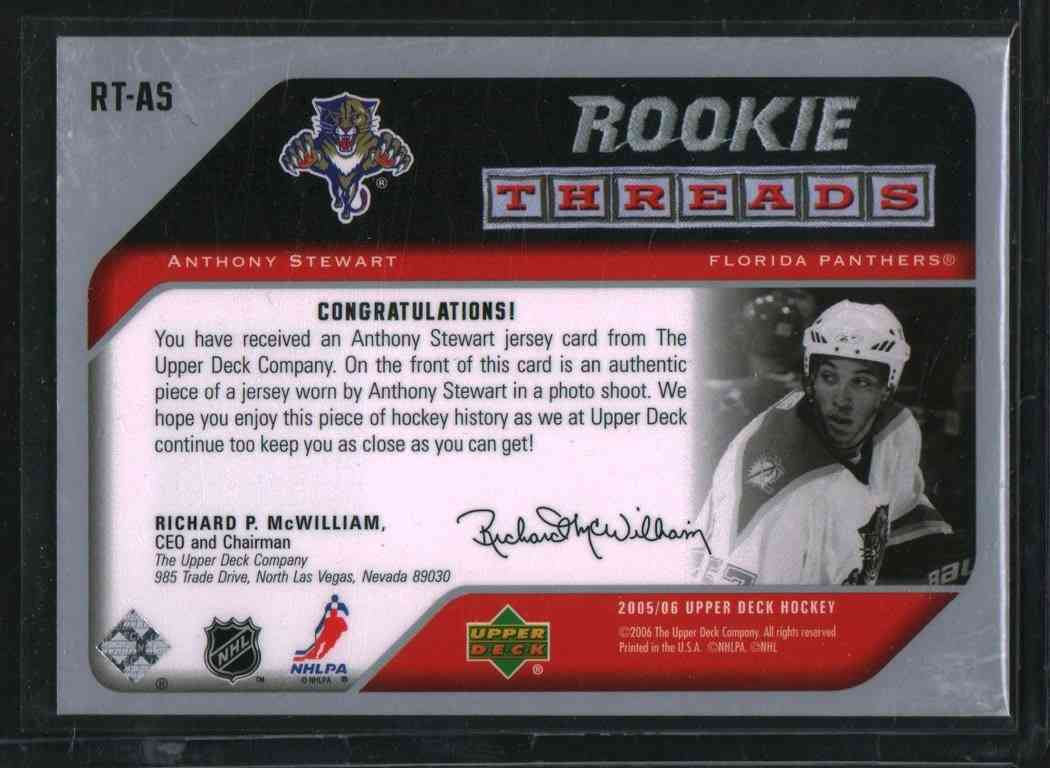 2005-06 Upper Deck Rookie Threads Anthony Stewart #RT-AS card back image
