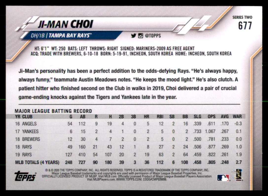 2020 Topps Ji-Man Choi #677 card back image