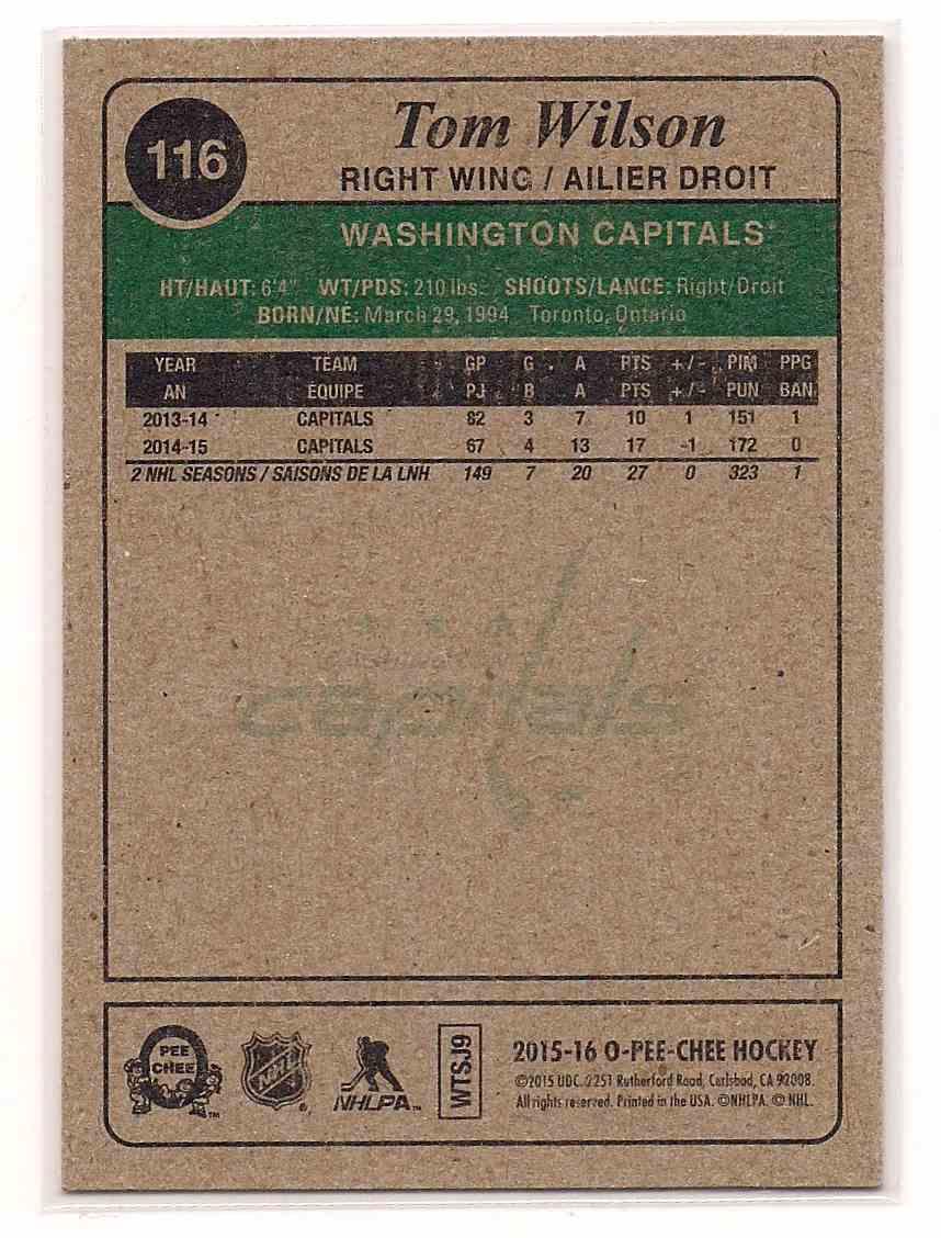 2015-16 O-Pee-Chee Retro Tom Wilson #116 card back image