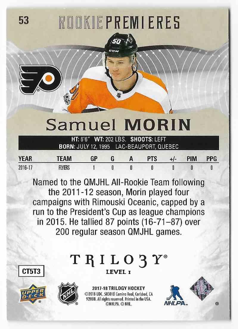 2017-18 Upper Deck Trilogy Samuel Morin #53 card back image