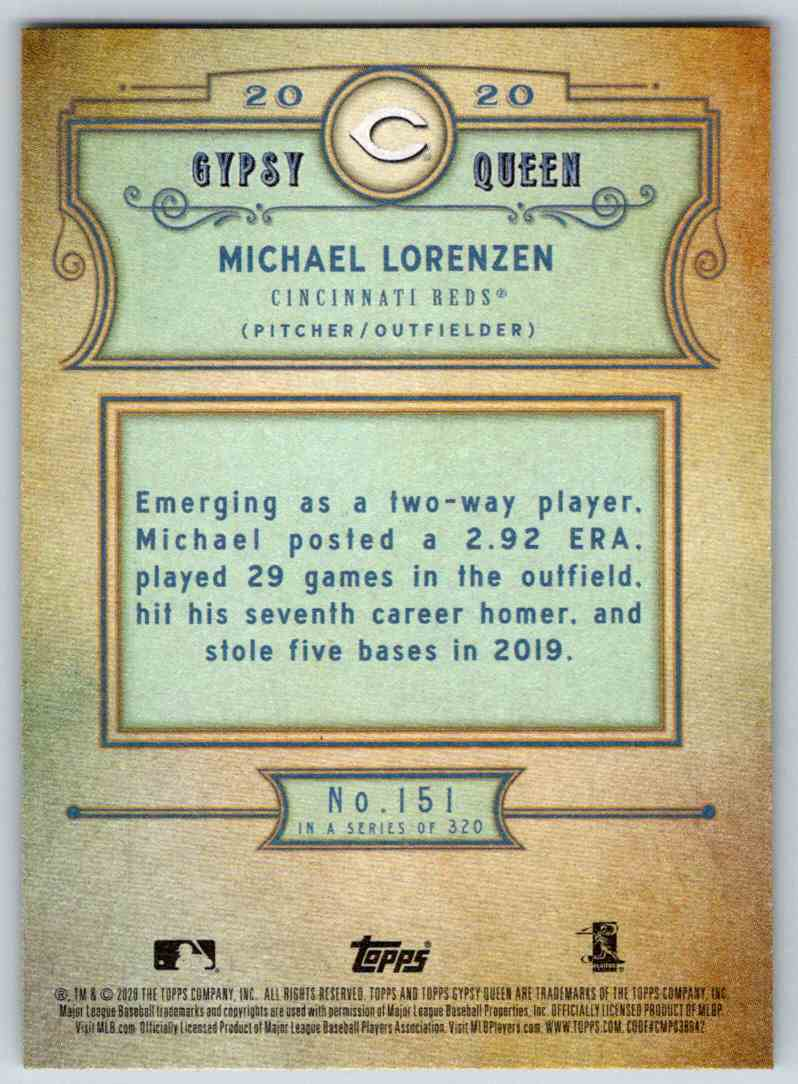 2020 Topps Gypsy Queen Base Michael Lorenzen #151 card back image