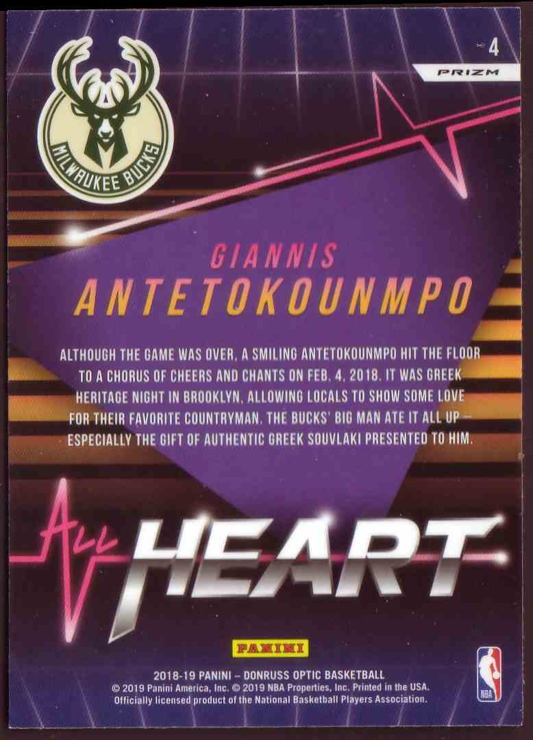 2018-19 Donruss Optic All Hearts Prizm Holo Giannis Antetokounmpo #4 card back image