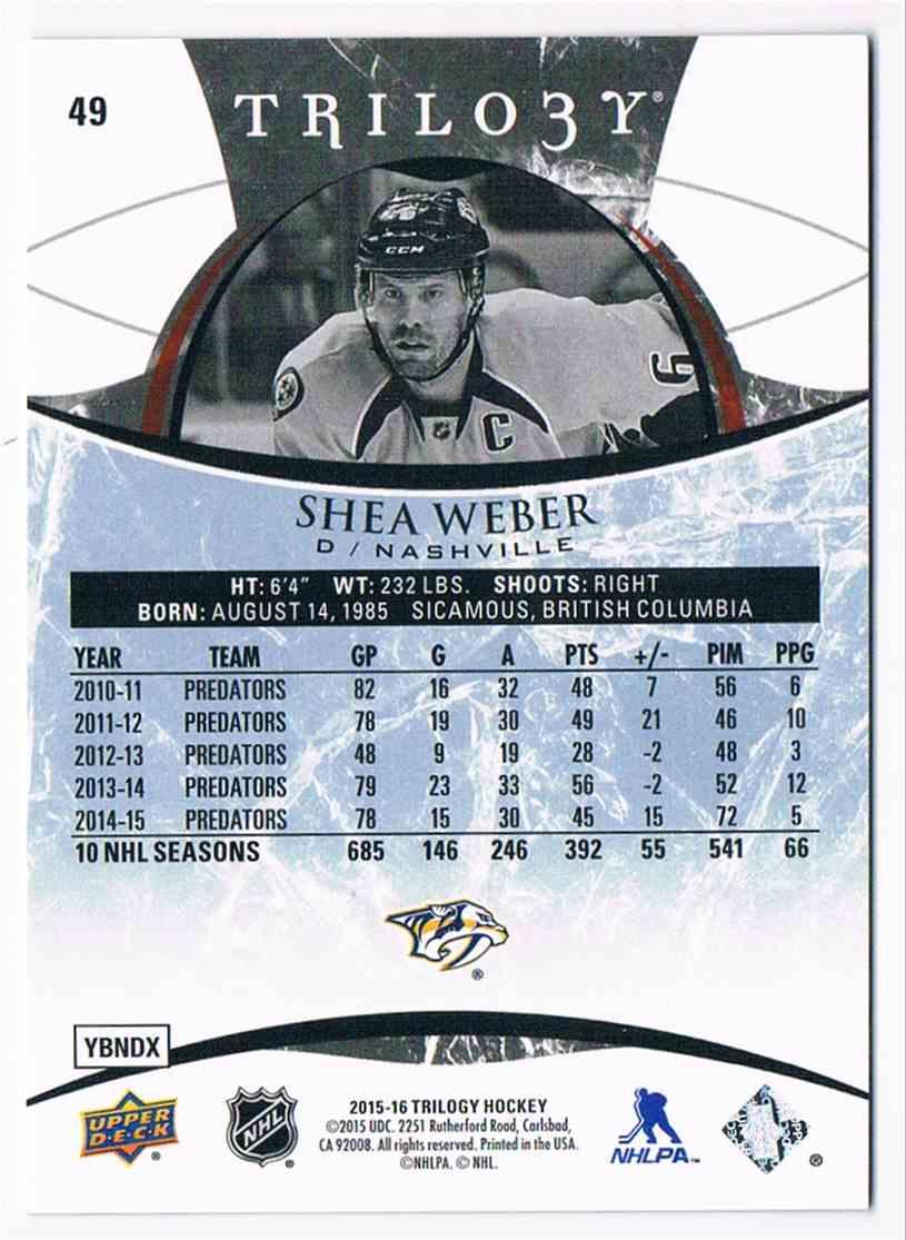 2015-16 Upper Deck Trilogy Rainbow Blue Shea Weber #49 card back image