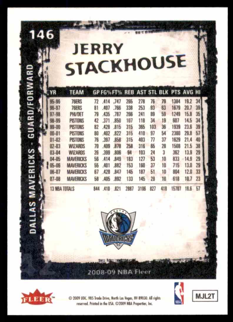 2008-09 Fleer Jerry Stackhouse #146 card back image