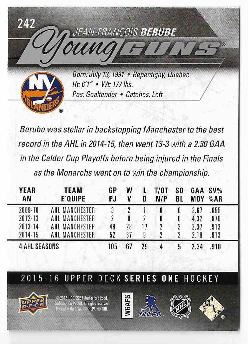 2015-16 Upper Deck Jean-Francois Berube #242 card back image