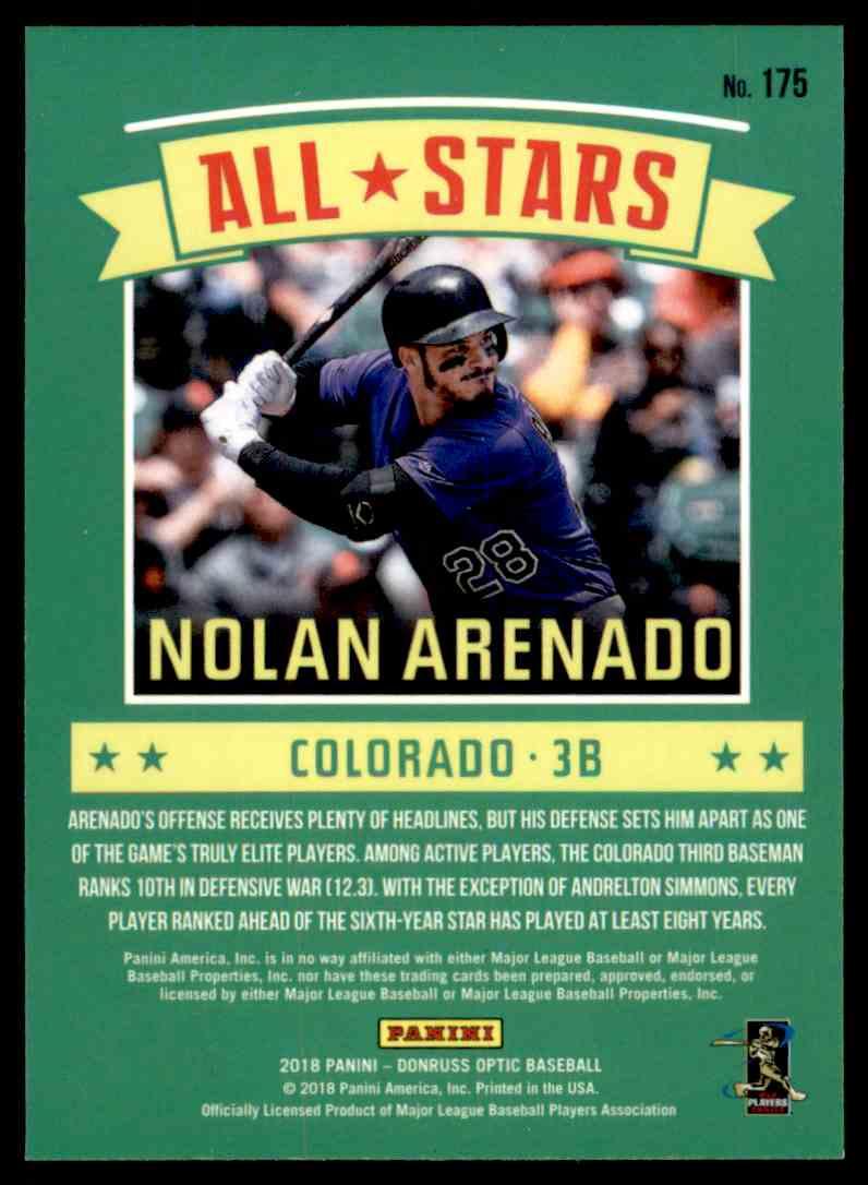 2018 DONRUSS OPTIC BASEBALL NOLAN ARENADO ALL STARS  # 175 ROCKIES