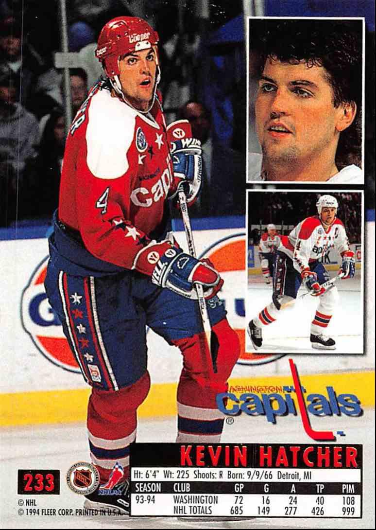 1994-95 Ultra Kevin Hatcher #233 card back image