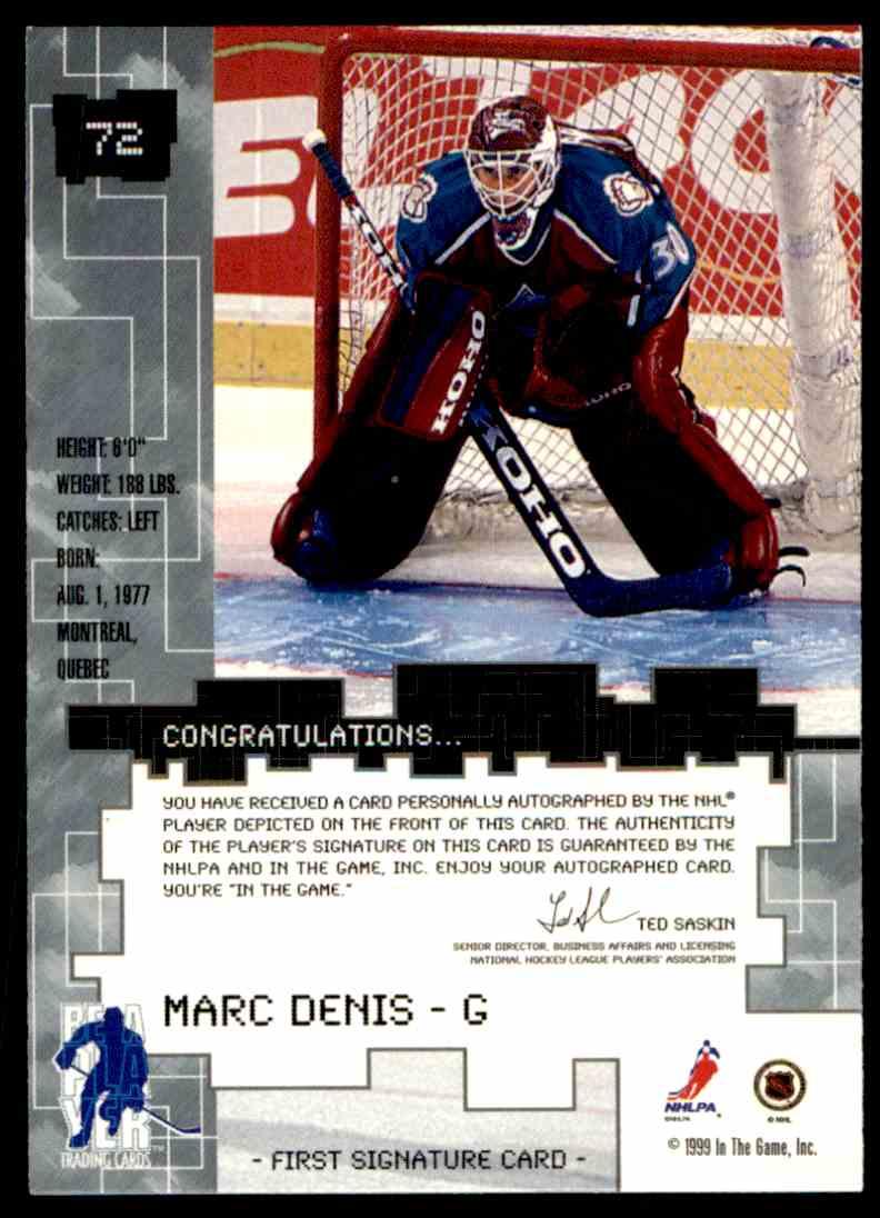 1999-00 Bap Millennium Autographs Gold Marc Denis #72 card back image